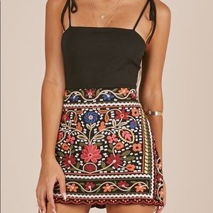 Showpo Hips Dont Lie Skirt In Black Embroidery